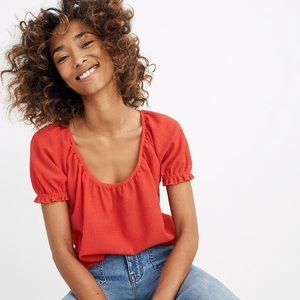 NWT Madewell Texture & Thread Scarlet Red Blouse